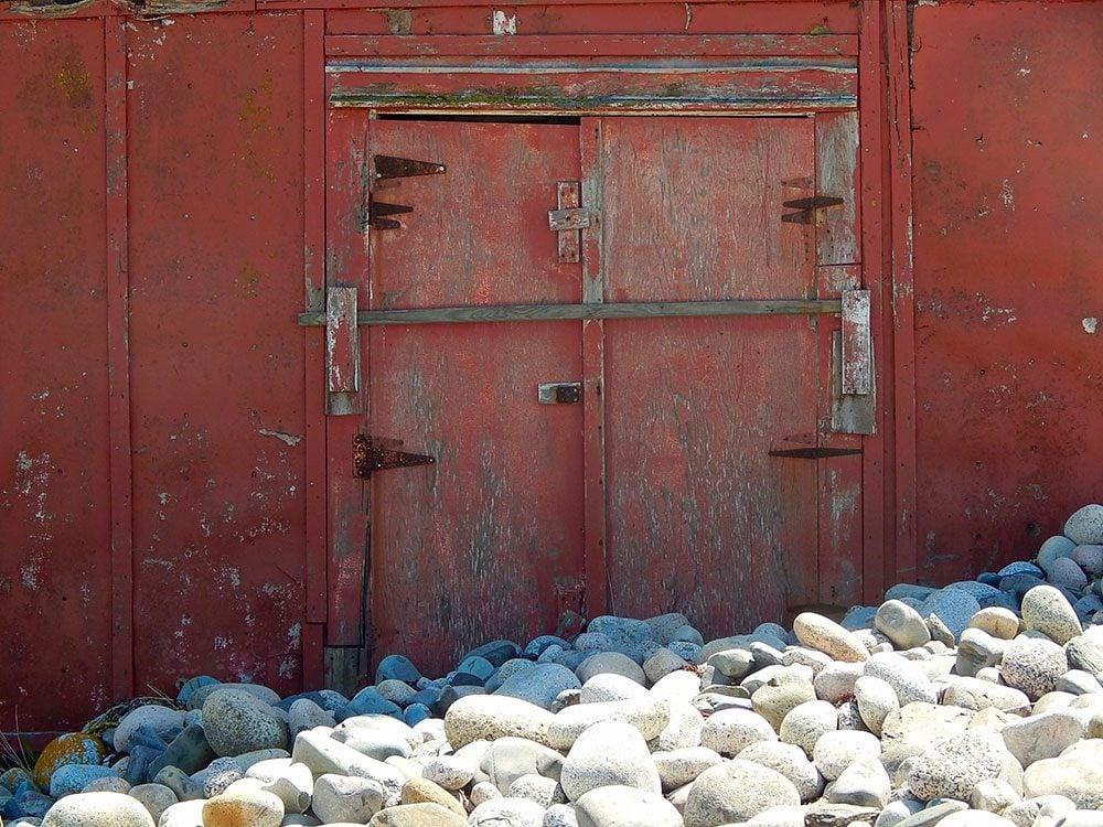 Rocks in front of door
