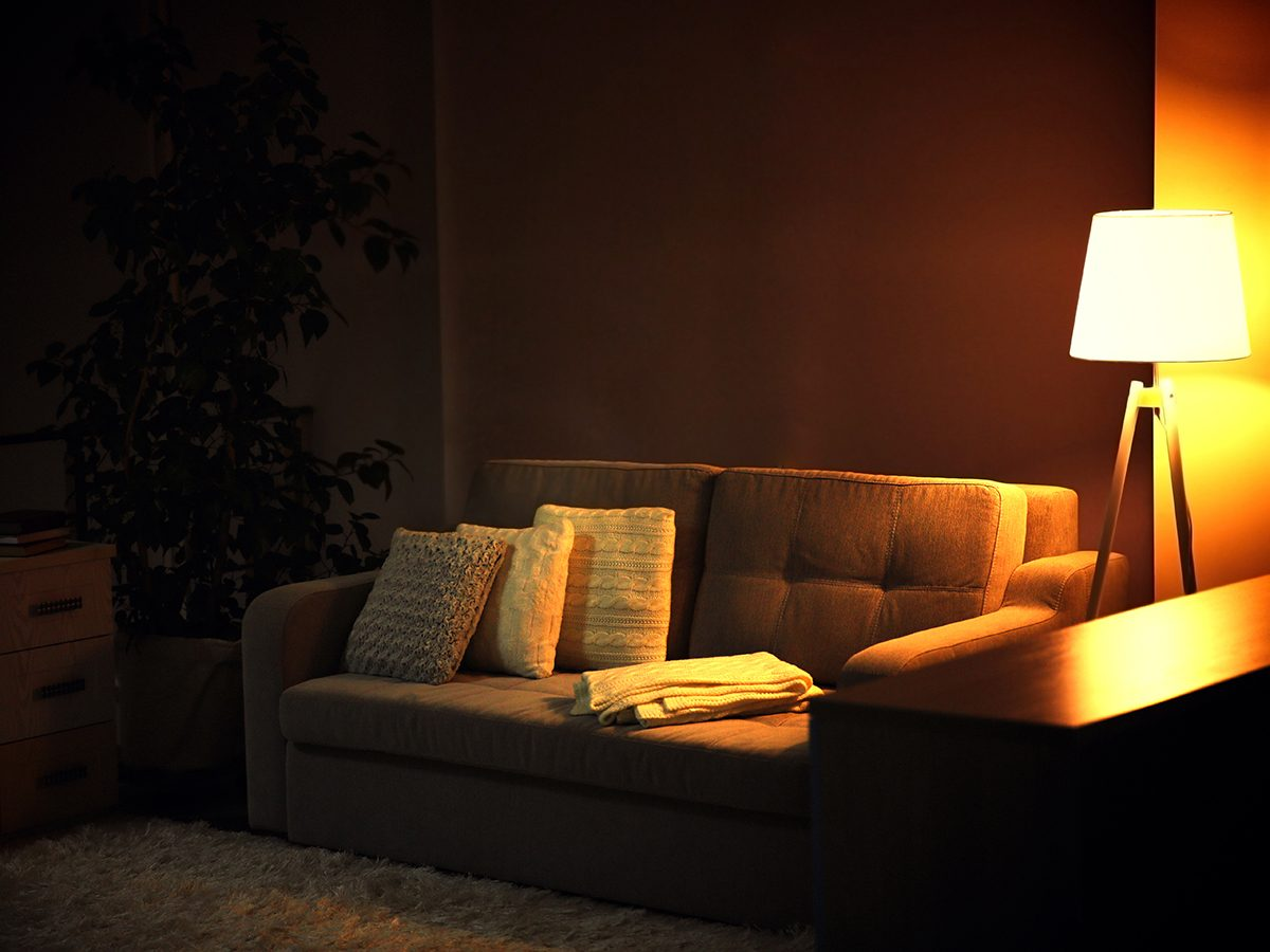 Living room design with sofa and lamp
