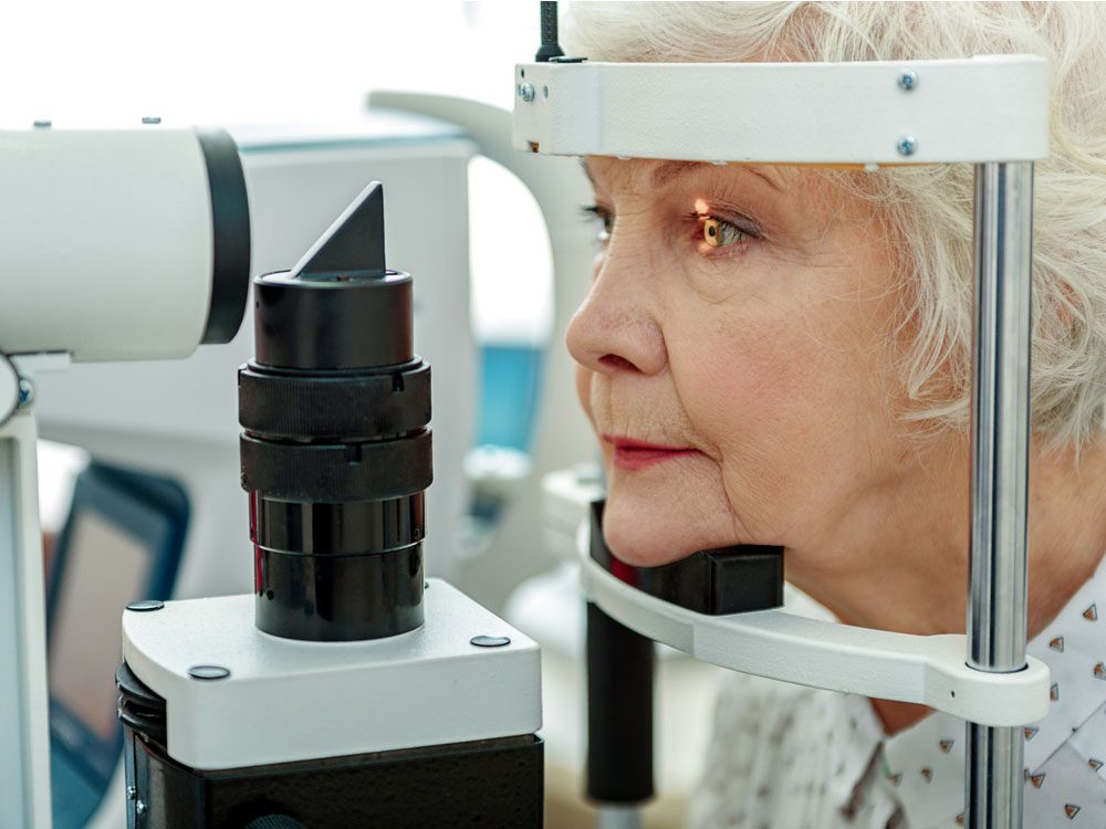 Elderly woman being treated for glaucoma