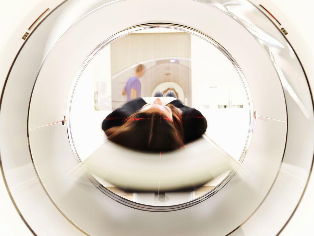 Woman in MRI machine
