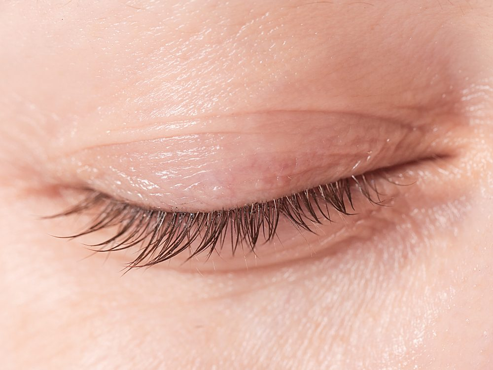 Close-up of closed eyelid