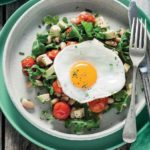 Roasted Tomato, Cannellini Bean and Avocado Salad with Pan-Fried Eggs