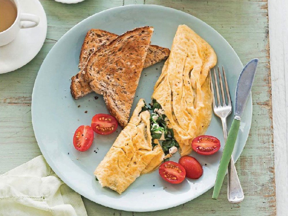 Spinach and feta omelettes