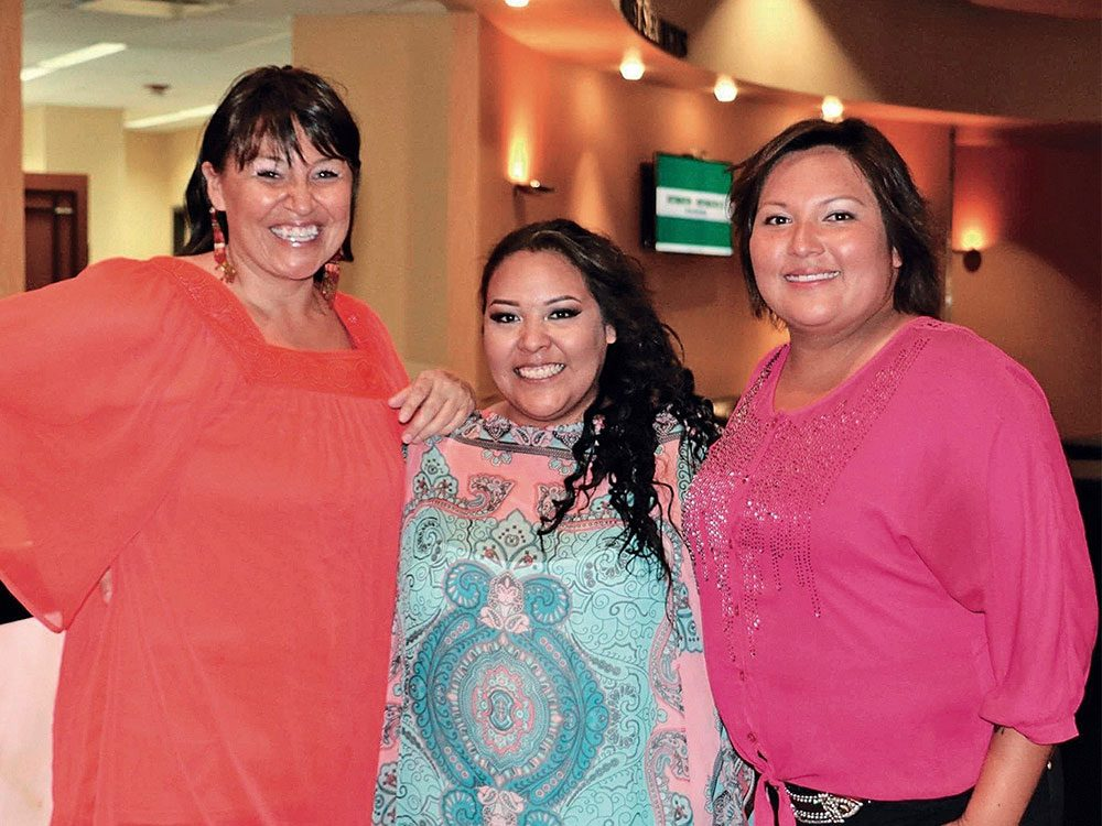 Teagan Littlechief with fellow singers Terri-Anne Armstrong and Yvonne St. Germaine