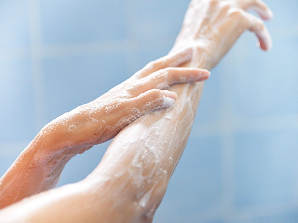Washing hands and arms