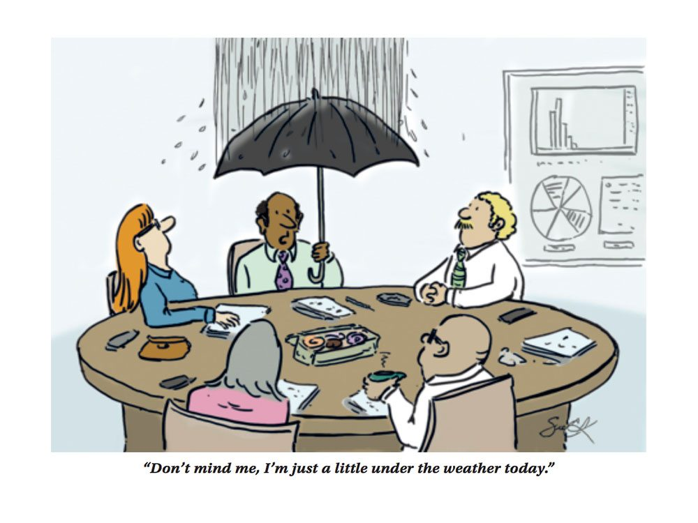 Under the weather work cartoon