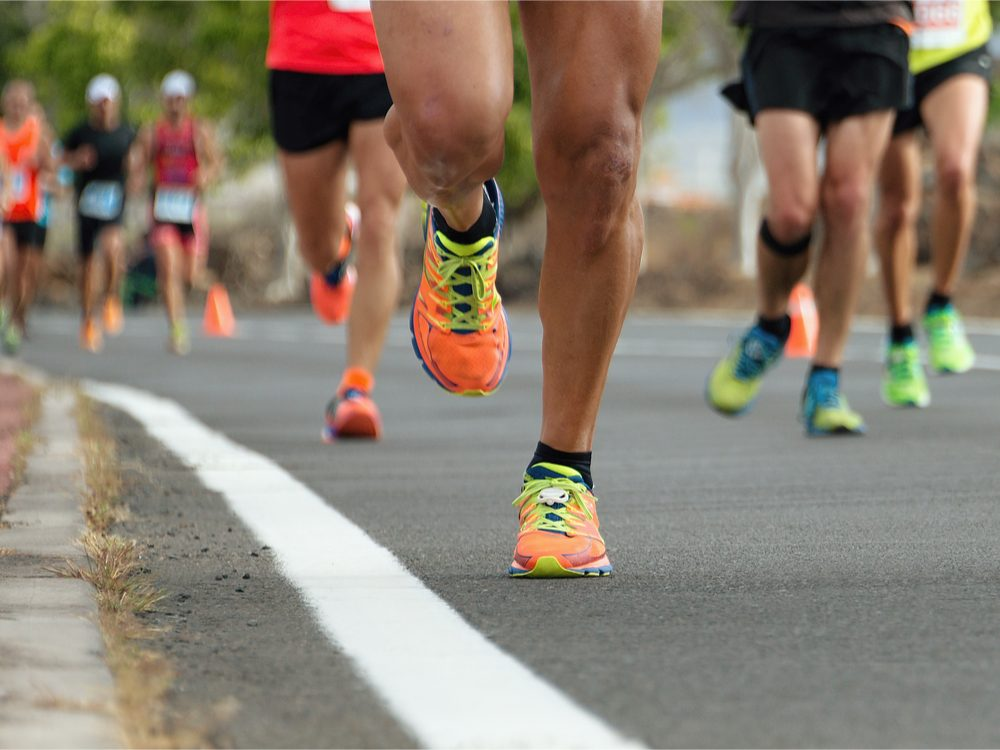 Shoes and legs running in race