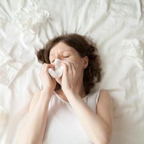 Sick woman on a mattress