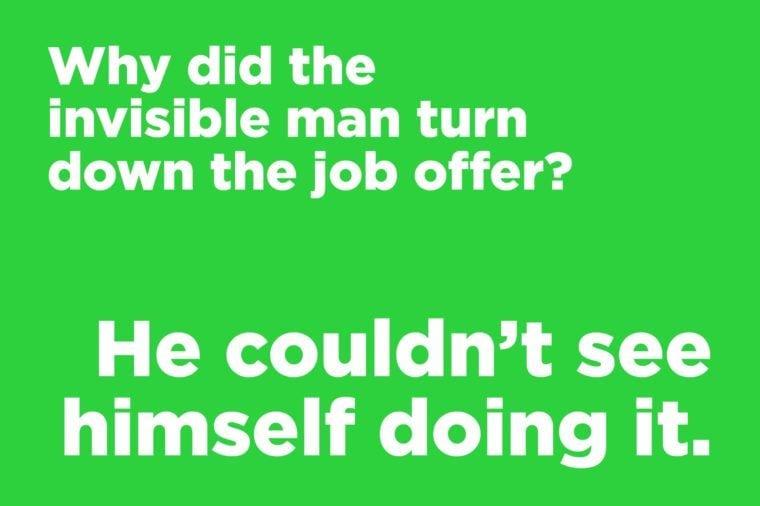 Corny jokes - invisible man