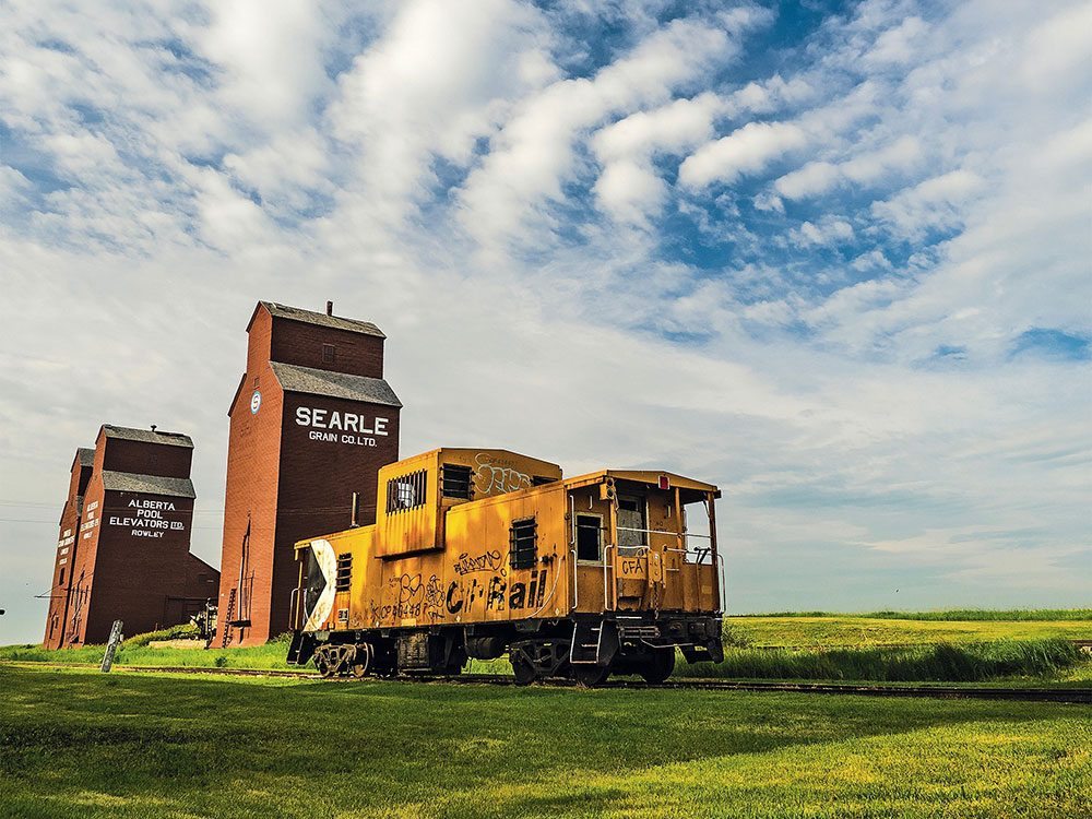 Iconic grain elevators in Rowley, Alberta