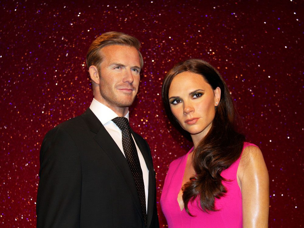 Wax figures of David and Victoria Beckham