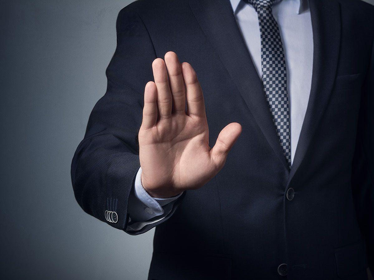 Hilarious work jokes - Businessman saying no