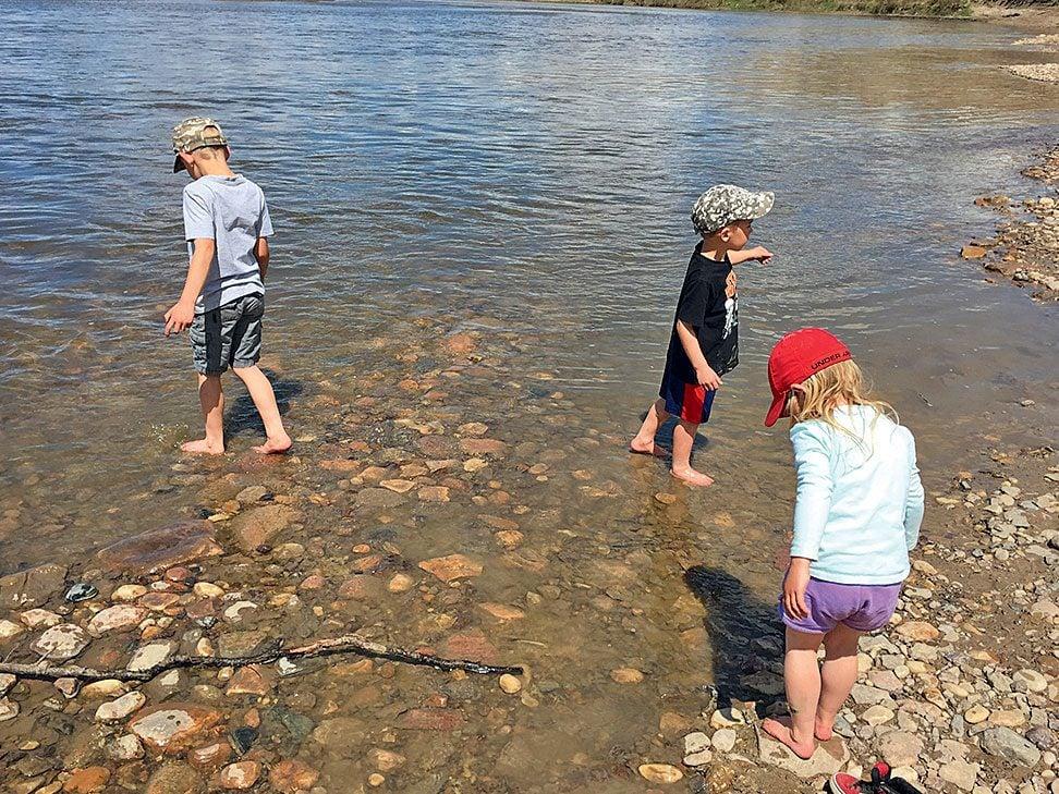 My children at Red Deer Rivert
