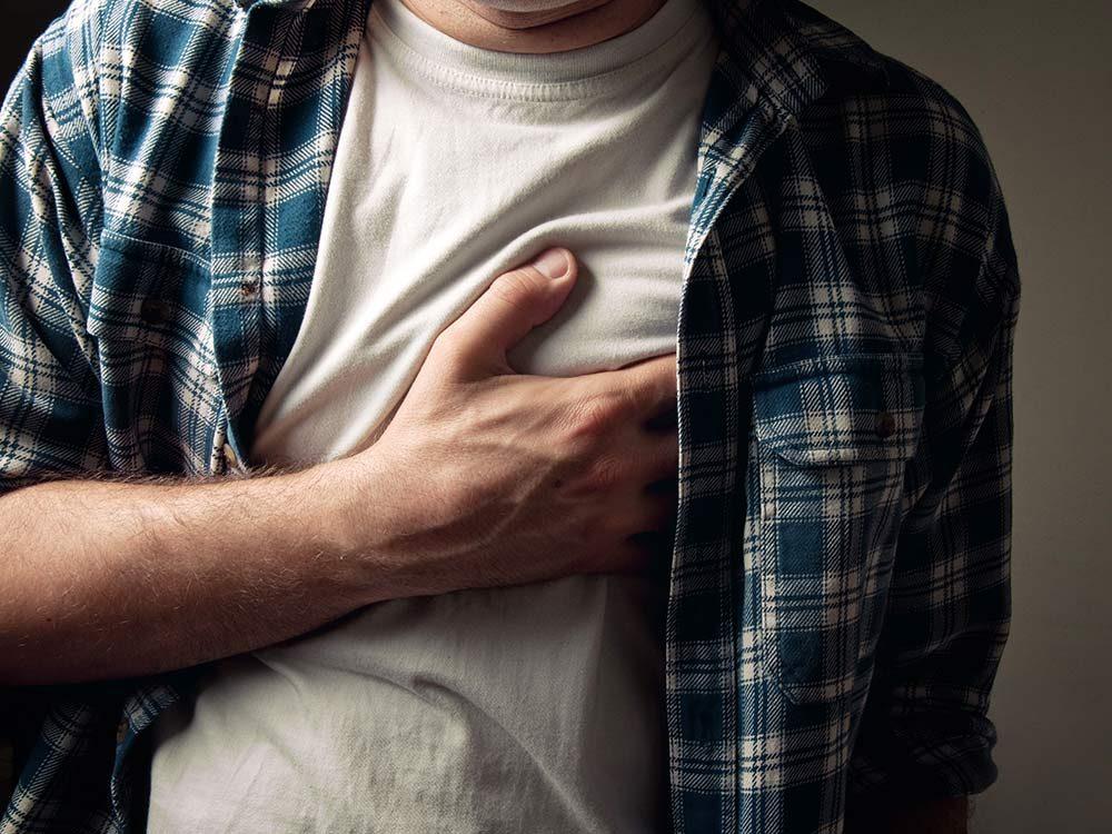 Man with tender nipples