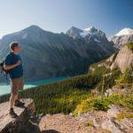 Man hiking in Lake Louise, Alberta