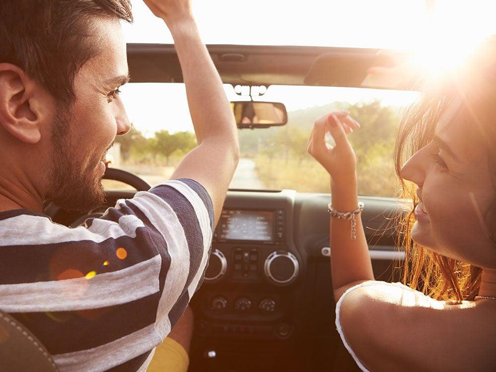 Wedding jokes - man and woman in car