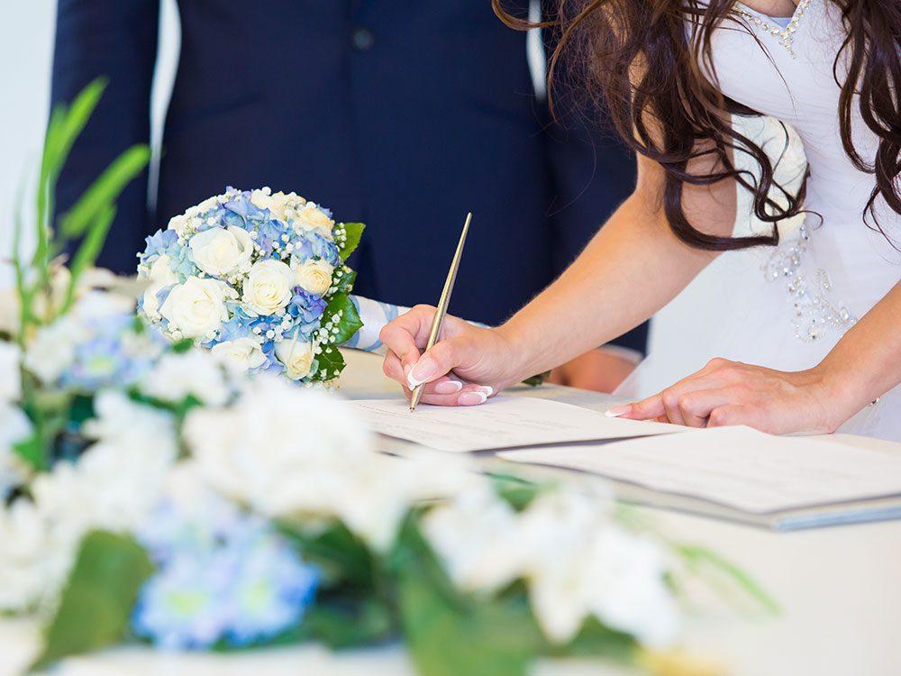 Wedding jokes - signing the registry