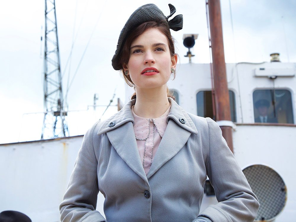 "Lily James in ""The Guernsey Literary and Potato Peel Pie Society"""