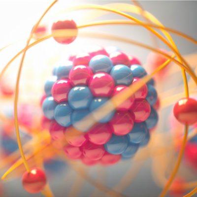 3D illustration of atoms