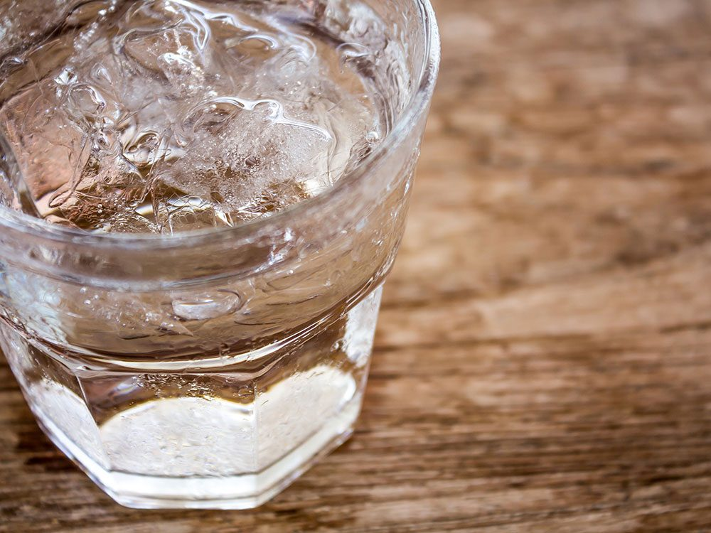 Ice water in cup