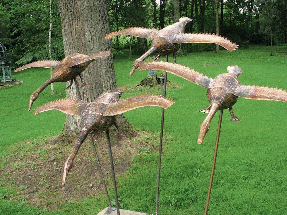 Bird sculpture made from scrap metal