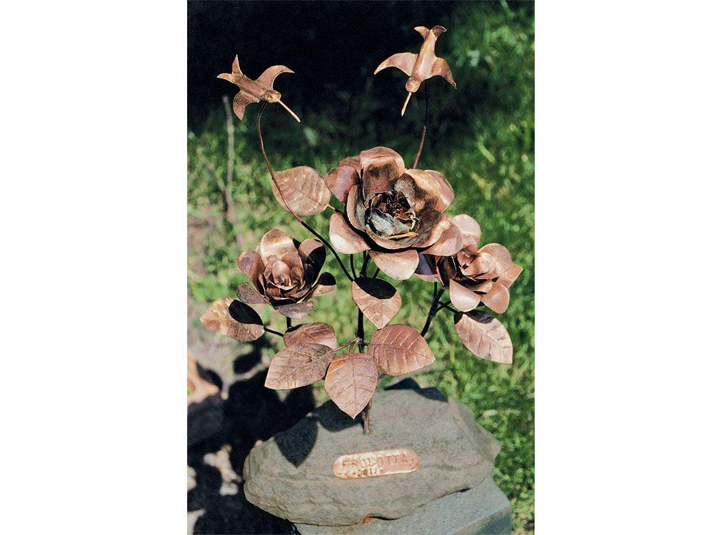 Roses made from scrap metal