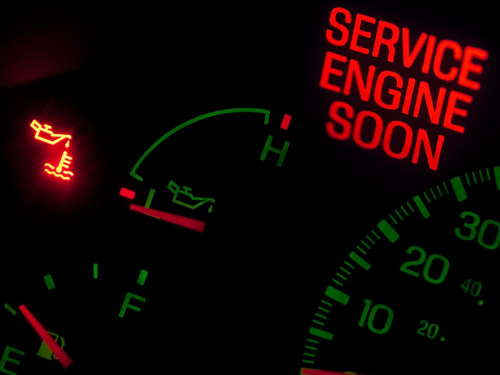 Tips for buying a used car - service engine soon light