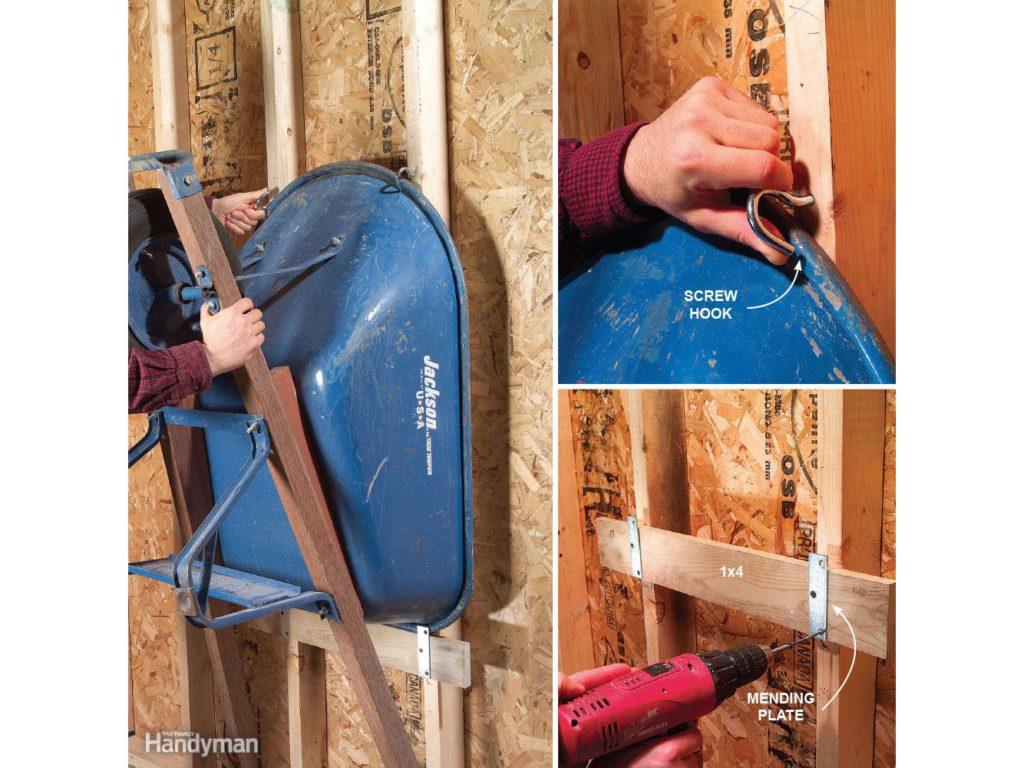Wheelbarrow hang-up for the garage