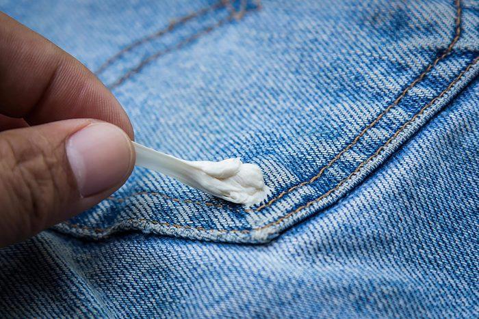 Gum stuck on jeans