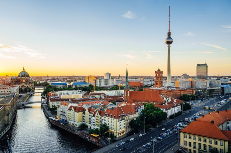 Berlin, Germany. Aerial view of Berlin during beautiful sunset