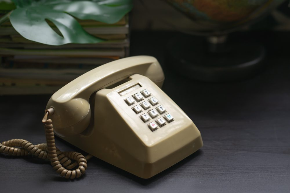 Old-fashioned corded phone