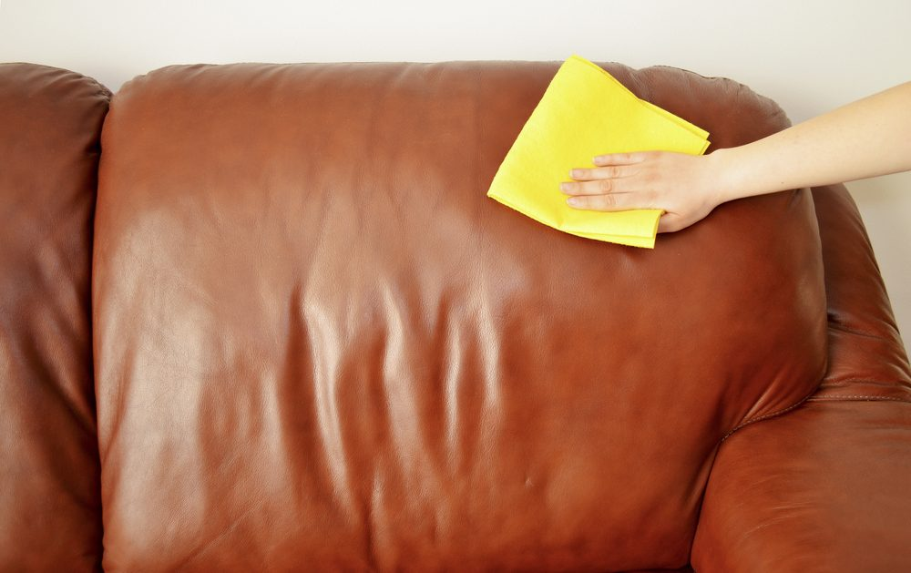 Polishing leather couch
