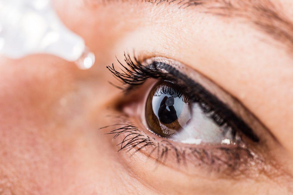 Applying eye drops