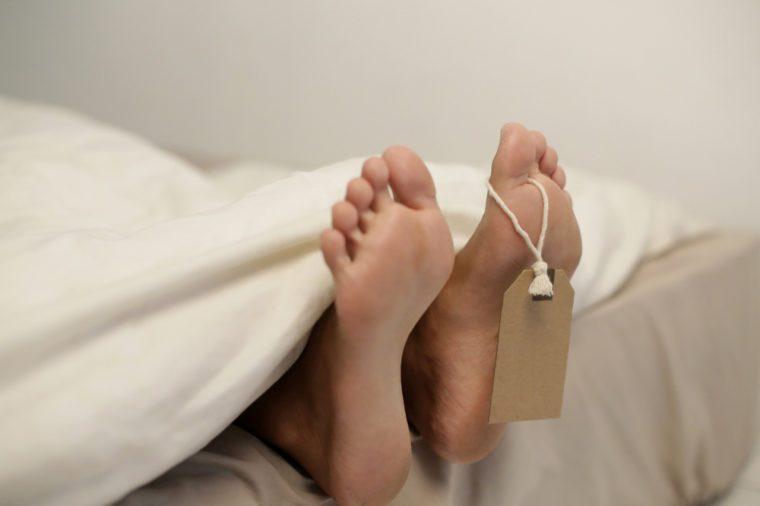 Cadaver with toe tag