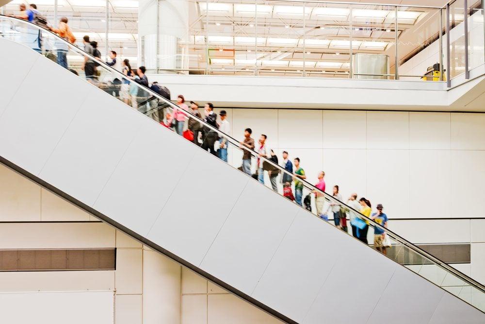 Crowd of people on an escalator