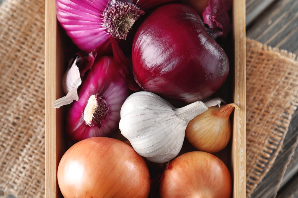 Red and white onions, and garlic