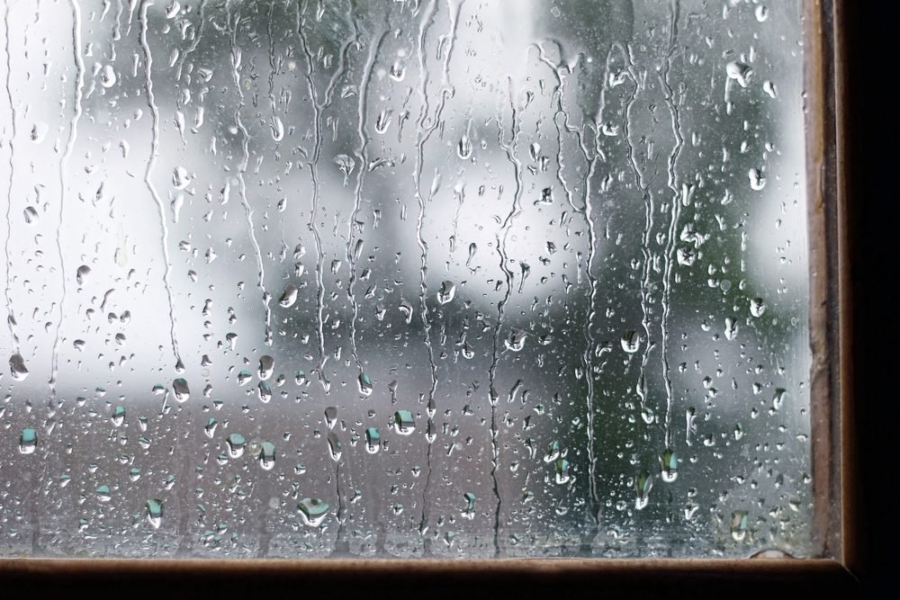 Raindrops on windowsill