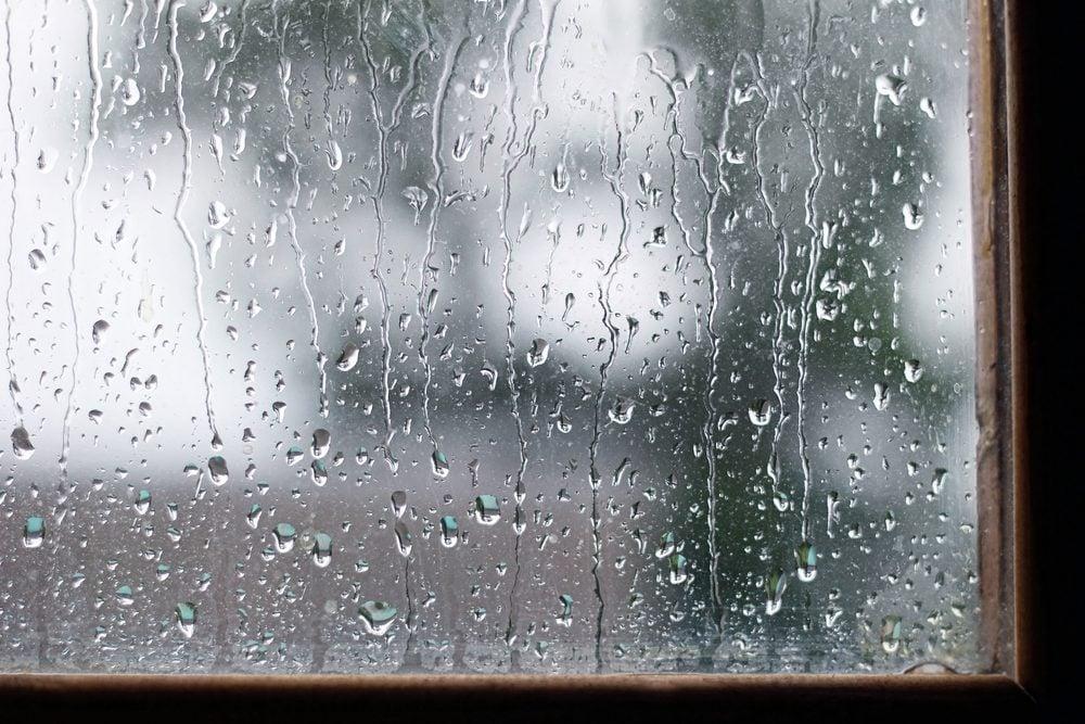 Raindrops on windowsill