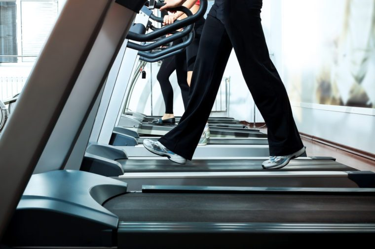 Walking on treadmill at gym