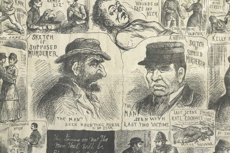 Two sketches of the murderer (Jack the Ripper) from The Illustrated Police News, 20th October, 1888 Art (Social history) - various