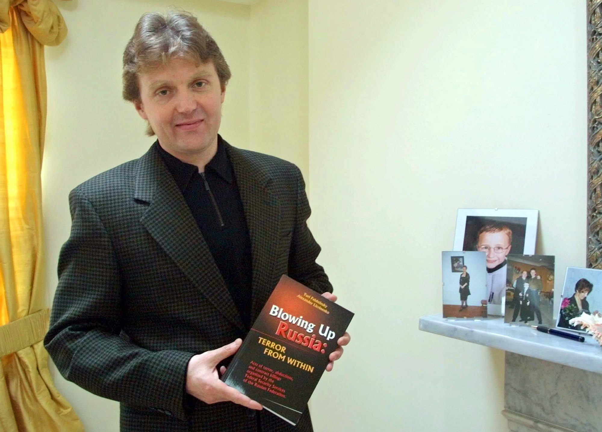 """Alexander Litvinenko A photo from files showing Alexander Litvinenko, former KGB spy and author of the book """"Blowing Up Russia: Terror From Within"""" photographed at his home in London. Polonium first hit the headlines when it was used to kill KGB agent-turned-Kremlin critic Alexander Litvinenko in London in 2006. This week, Yasser Arafat's widow has called for the late Palestinian leader's body to be exhumed after scientists in Switzerland found elevated traces of radioactive polonium-210 on clothing he allegedly wore before his death in 2004 BC-EU--Polonium"""