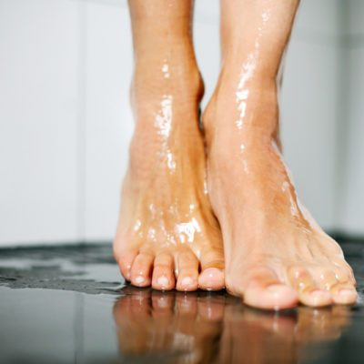 Female feet in shower