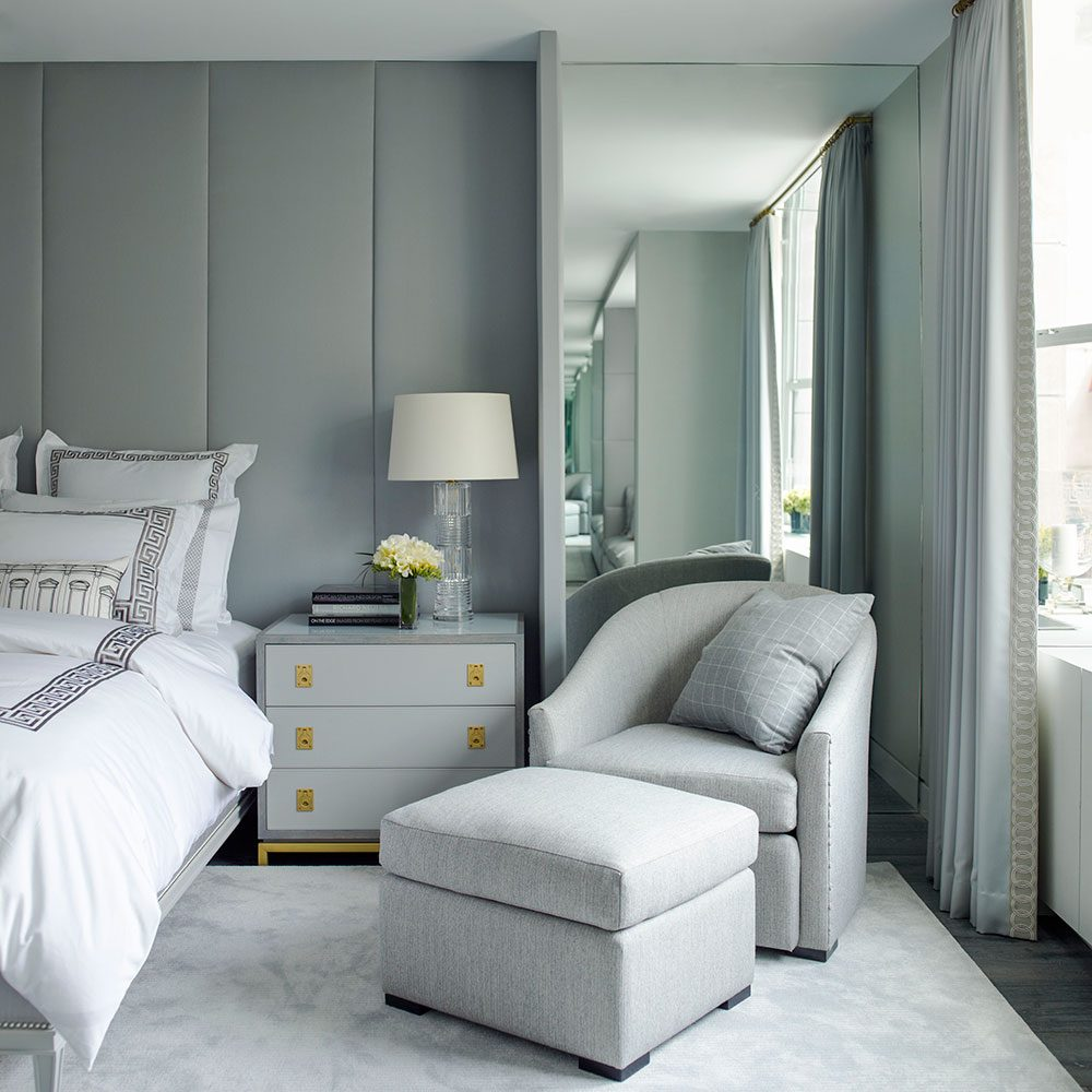 Brian Gluckstein grey bedroom