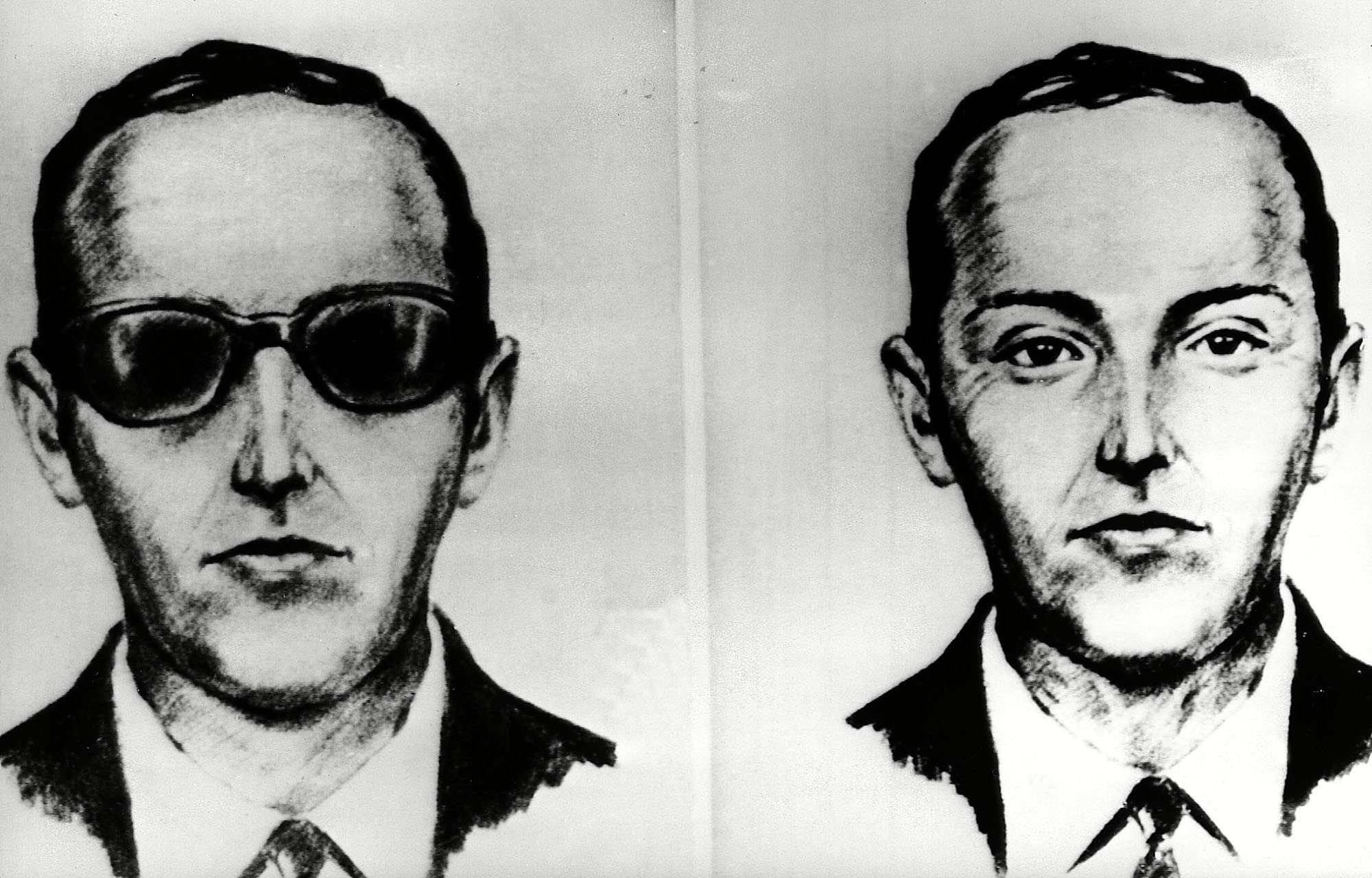 """This undated artist' sketch shows the skyjacker known as D.B. Cooper from recollections of the passengers and crew of a Northwest Airlines jet he hijacked between Portland and Seattle on Thanksgiving eve in 1971. The FBI says it's no longer actively investigating the unsolved mystery of D.B. Cooper. The bureau announced it's """"exhaustively reviewed all credible leads"""" during its 45-year investigation DB Cooper FBI - 12 Jul 2016"""