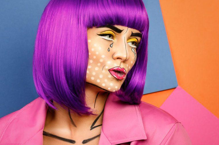 Woman with pop art face paint