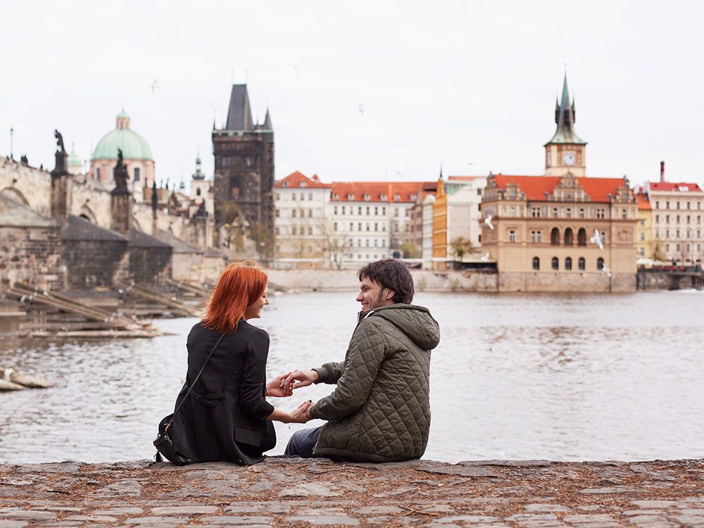 Young couple in Prague, Czech Republic