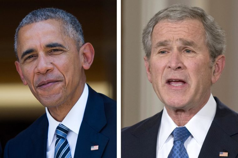 Barack Obama and George W. Bush