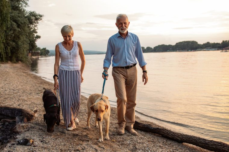 Shot of a happy senior couple walking with their dogs by the river.