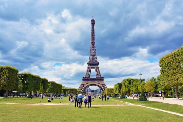 View of Eiffel Tower from Champ de Mars before the storm. Paris, France