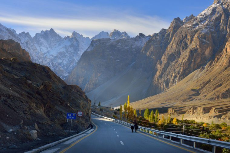 Karakorum highway. Autumn season in Northern Pakistan.